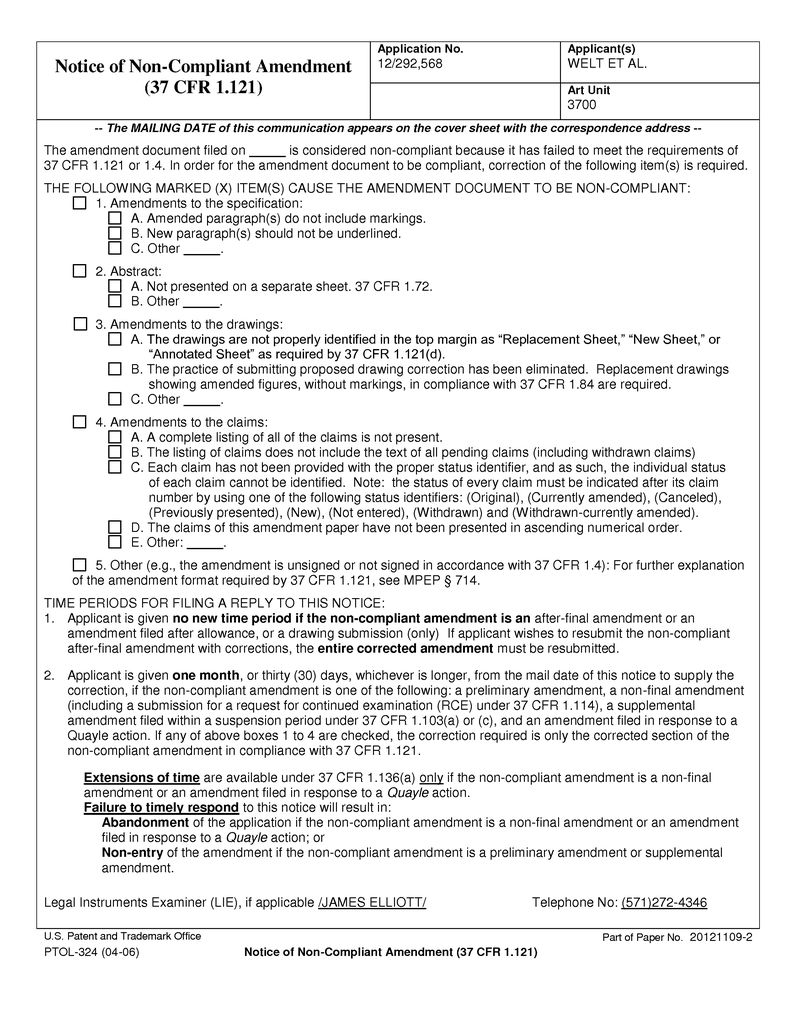 Notice of Non-Compliant Amendment Page 2