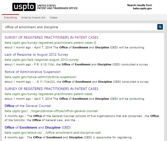 Office of enrollment and discipline search