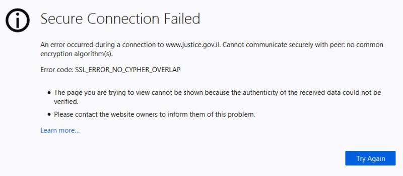 Ilpto web site error message